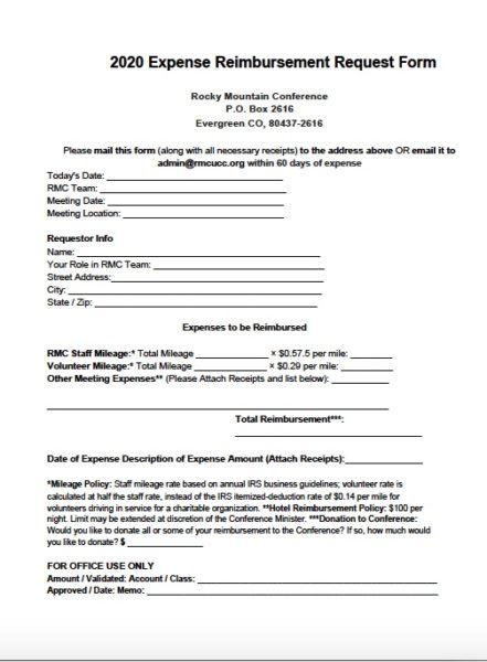 2020 Expense Reimbursement Form image
