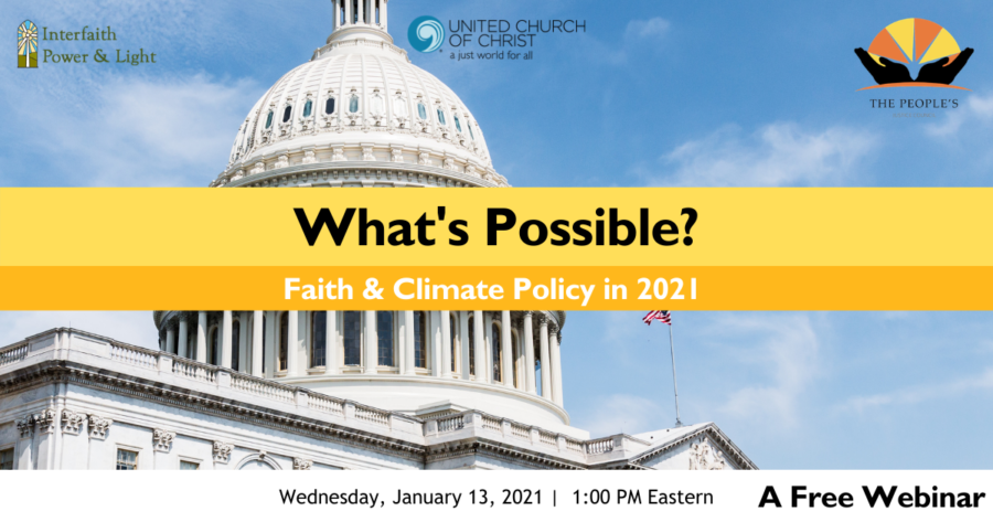 UCC Webinar—What's Possible?  Faith and Climate Policy in 2021 image